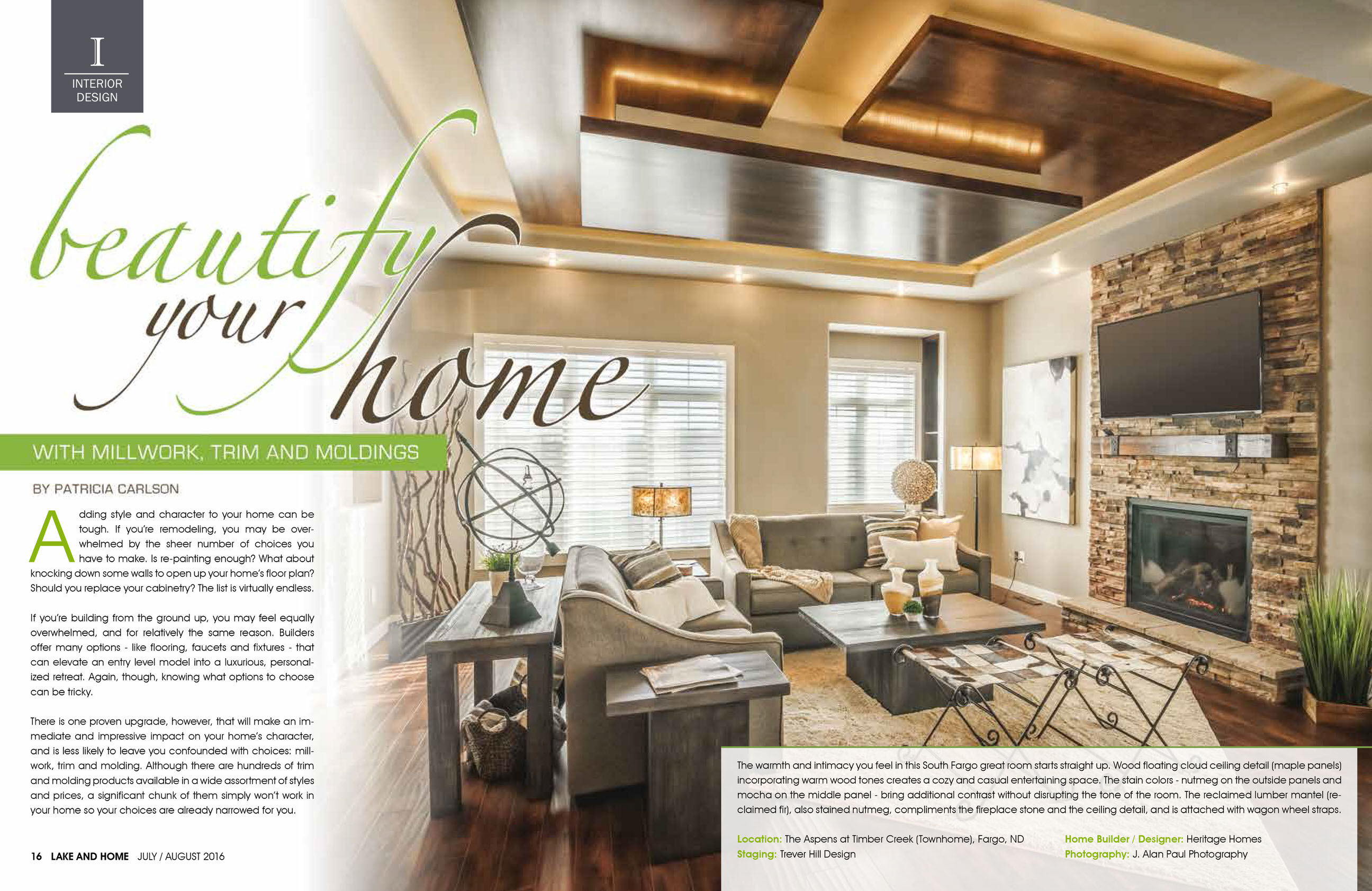 """Beautify Your Home with Millwork, Trim and Moldings"" – Lake & Home Magazine Feature"
