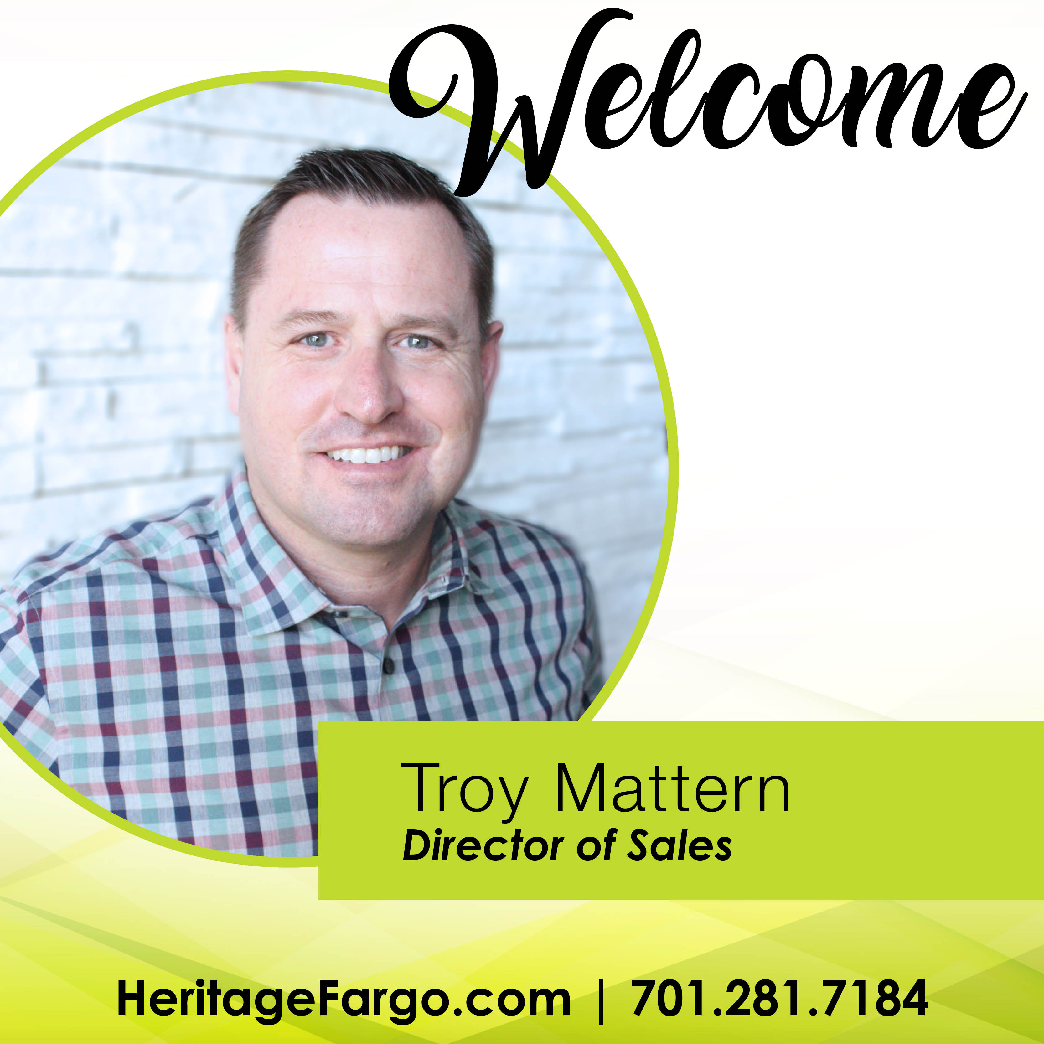 Welcome Troy Mattern: Director of Sales