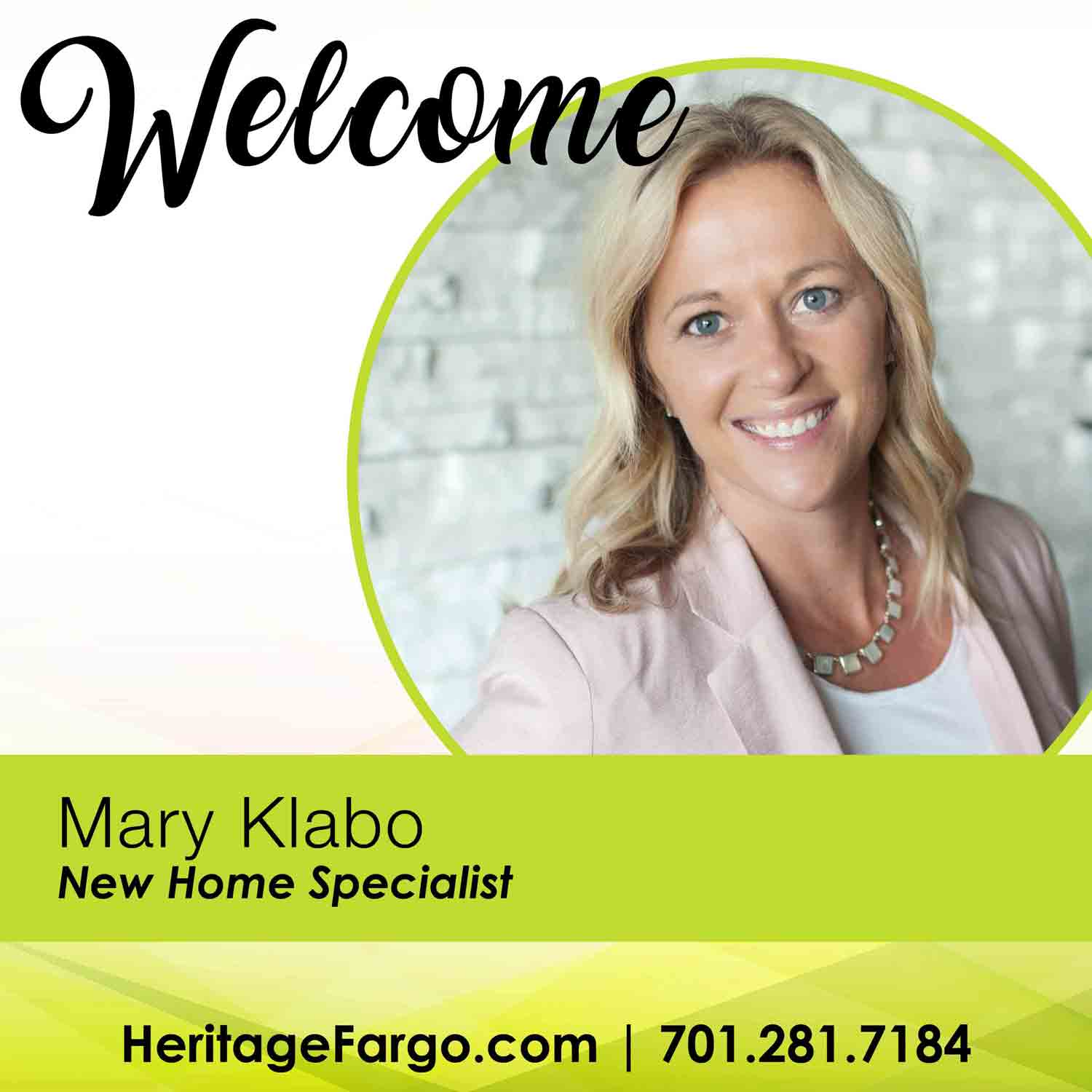 Welcome Mary Klabo – New Home Specialist